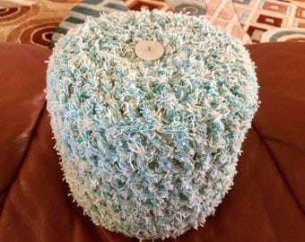 Turquoise Blue Toilet Paper Cover Crochet with white Button accent