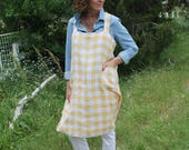 Vintage Tablecloth Crossback Apron - Yellow Check