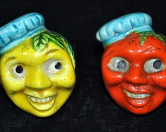 Anthropomorphic Salt and Pepper Shakers -  Fruit Heads - Japan - Cork Stoppers