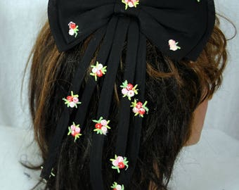 Vintage Hair Comb, Flowered Ladies' Hair Comb, Women's Hair Accessory, NOS New Old Stock, Black Nylon Ties/Tiny Flower Embroidered Patches