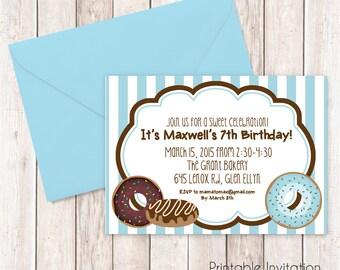 Donuts Invitation, Sleepover Printable Invitation Design,Baby Sprinkle Custom Wording, JPEG File