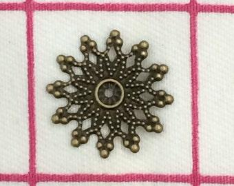 Bronze Filigree Bead Components