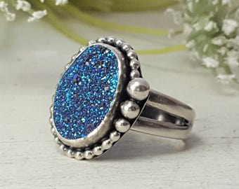 Modern Titanium Druzy Ring 12X16 mm Drusy Sterling Silver Ring