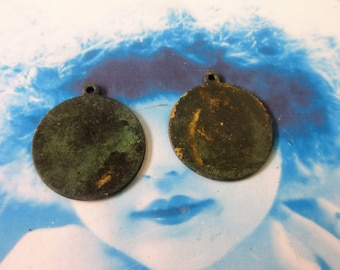 Hand Oxidized Patina Round 22mm Brass Tags with loop 205HOX x2