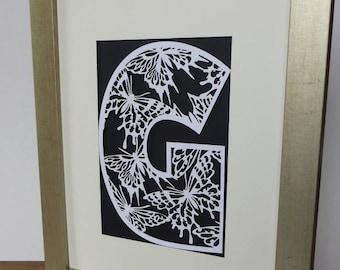 Initial paper cut wall art, butterfly