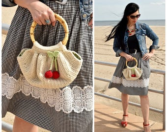 Céret Purse | Handmade Crochet Handbag Natural Ecological Wool Cherries and Bow Pin Accent Round Bamboo Handle Liberty Lining Ready to Ship