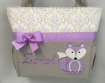 FOX in  Lavender ... DIAPER Bag .. Applique  ... Bottle Pockets ... Personalized Free