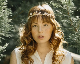 Bridal flower crown, enamel circlet. wedding headpiece - Be Mine no. 2189