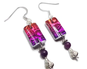 Magenta Violet Earrings- polymer clay jewelry- Dichroic earrings- Crystal Earrings- Ready to Ship- Gifts for Her Birthday Anniversary