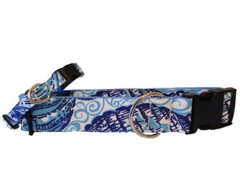 Dog Collar and Leash made with Lilly Pulitzer Originals fabric - Blue and White Small/Large Sizes All Breeds - 'Stuffed Shells'