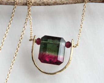 Watermelon Tourmaline Necklace, Watermelon Tourmaline Square Cut in 14K Solid Gold