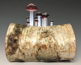 Birch Mushroom Log Lamp