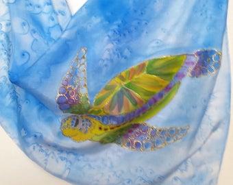 Turtle Original Silk Scarf Handpainted in Kauai Hawaii Silk Scarves Birthday Gift Wearable Art blue yellow honu turtles for her ocean
