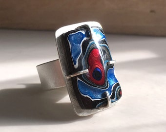 Fordite ring, fordite jewelry, adjustable ring, valentines, gift for wife, Detroit Agate, cocktail ring, sterling silver statement ring
