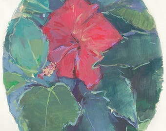 original painting / floral wall decor / tropical hibiscus