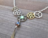 RESERVED FOR SUSAN Steam Punk Watch Gear Clock Gears Necklace Green Crystal Artisan Victorian Inspired Metalwork