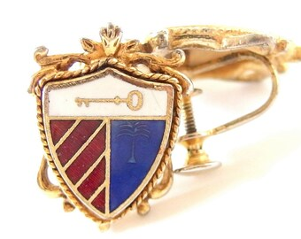 Vintage Red, White and Blue Earrings, Shield Shaped Screw Back Jewelry