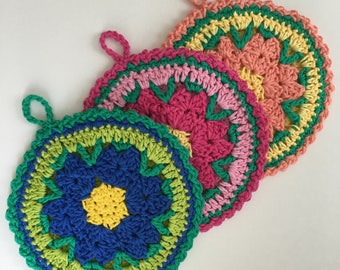 Floral Potholders. Colorful Potholders. Crocheted Potholders. Potholder Set. Flower Hot Pad.
