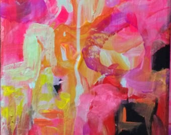 Blue rain, pink, black, abstract, expressionism, turquoise, yellow, modern