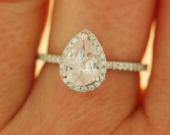 White gold ring Pear Sapphire 1.01ct peach sapphire diamond ring 14k white gold. Engagement ring by Eidelprecious