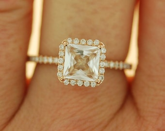 Radiant cut ring. Peach champagne sapphire ring.  Engagement Ring square 14k rose gold diamond ring 1.05ct sapphire ring