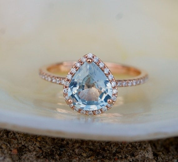 Sapphire Engagement Ring Blue sapphire 14k Rose Gold Diamond ring Pear Sapphire Ring