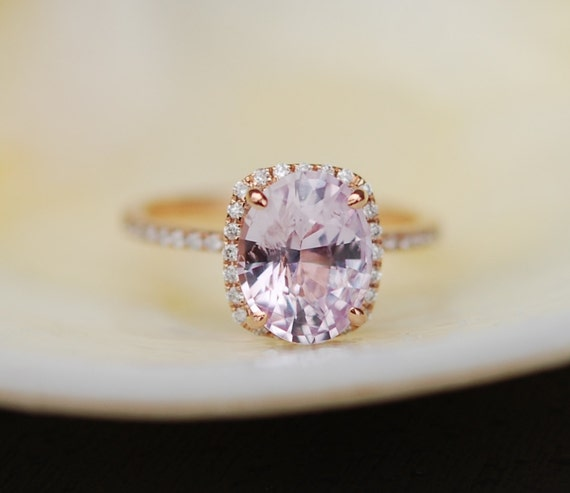 2.87ct Engagement ring. Cushion ice peach champagne sapphire 14k rose gold diamond ring engagement ring by eidelprecious