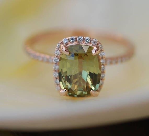 Green sapphire engagement ring. Rose Gold Engagement ring. Green Sapphire ring. 2.03ct cushion sapphire 14k Rose Gold diamond ring.