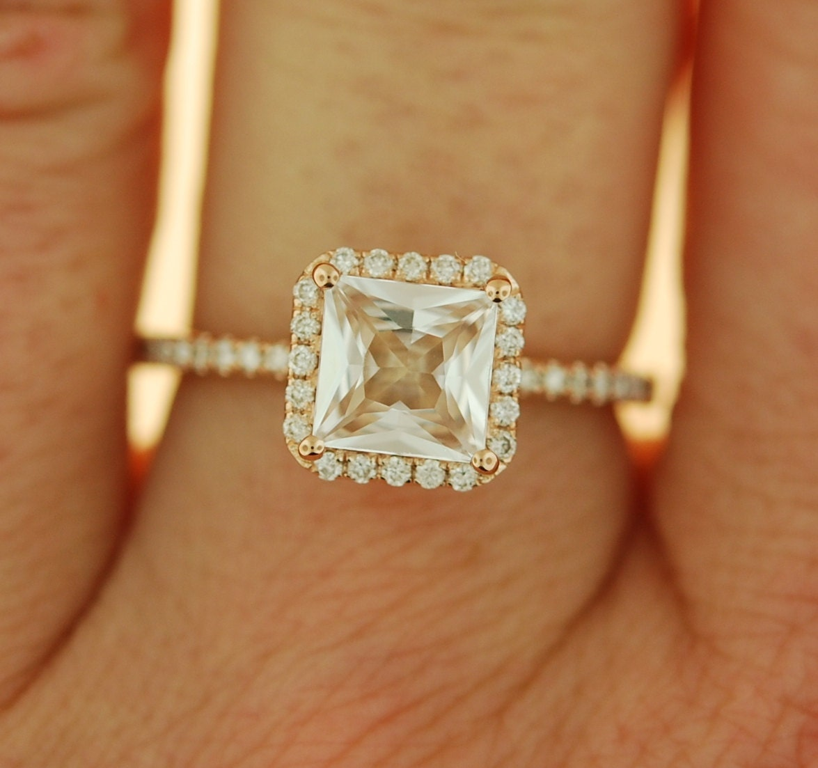 Radiant Cut Ring Peach Champagne Sapphire Ring Engagement