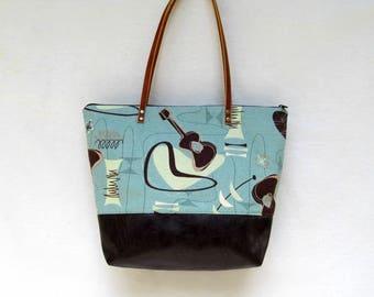 SARA D. SHOULDER BAG // Tote // Large Barkcloth Handbag  //  Mid-Century Barkcloth Print // Fashion Handbag