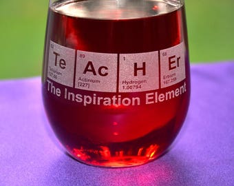 Personalized Engraved Periodic Table Teacher's Glass, Teacher Appreciation Gift, Math/Science Teacher, Principal Gift , Computer Geek Gift