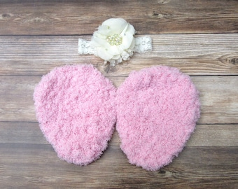 Newborn Angel Wings with Headband Set, Baby Fairy Wings, Crochet Newborn Girl Wings, Baby Girl Prop, Infant Girl Photo Outfit, Pink