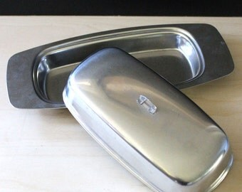 Selandia 1960s stainless steel butter dish.