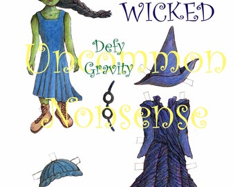 Elphaba from wicked paper doll