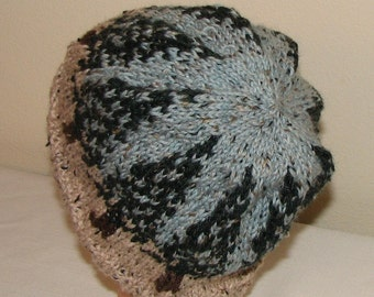 Sequoia Trees Hat - good first Fair Isle Project - worsted weight  or DK tweeds or solids