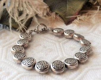 Sale......Silver Plated Celtic Beaded Toggle Bracelet