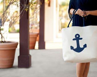 Beach Bag- Extra large canvas Anchor Beach Bag, Beach Tote, Bridesmaid Gifts, Weekender Bag