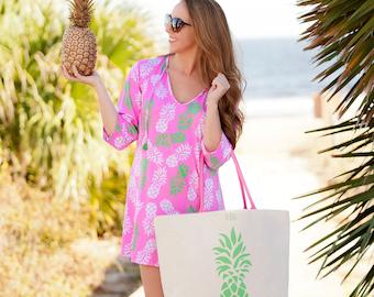 Beach Bag - Extra large Canvas Tropical Pineapple Beach Bag, Beach Tote, Bridesmaid Gifts, Weekender Bag