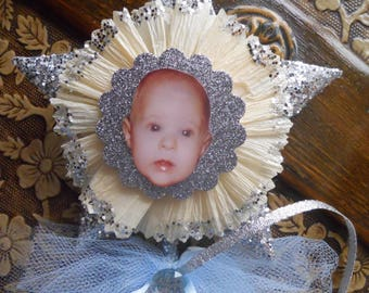 Will you be my Godmother? Blue Wand with Photo