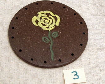 """4"""" Clay Base for Pine Needle Basket YELLOW FLOWER #3"""