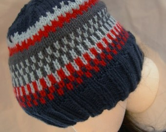 Cashmere Soft Beanie Navy Fair Isle luxury yarn winter hat hand knit preppy beanie colorful