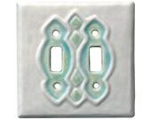 Moroccan Double Toggle Ceramic Light Switch Cover in White Agate Glaze