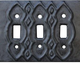 Moroccan Ceramic Light Switch Cover- Triple Toggle in Steel Glaze