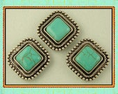2 Hole Beads Faux Turquoise Square Cabochons with Rope & Beaded Edge Frame ~ Sliders QTY 3     (SKU 513918924)