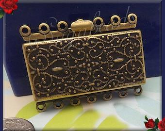Antiqued Brass 7 Strand Box Clasp 36mm x 26mm