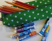 Boxy pouch in bright green starry fabric - for art supplies or cosmetics - SALE