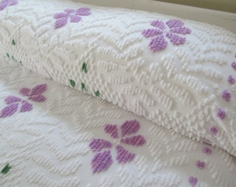 Vintage Chenille Bedspread Purple Floral on White -  Full Queen King 99 x 110 - Shabby Cottage