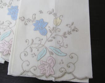6 Vintage Madeira Hand Tea Towels Embroidered and Appliqued Linen from Portugal Elegant Shabby Cottage