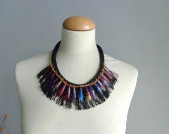 Black colorful drop fringe necklace, statement fringe necklace