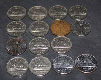 Circulated 1937 - 1952 Canadian Beaver and Victory  Nickel Collection - No 1948!